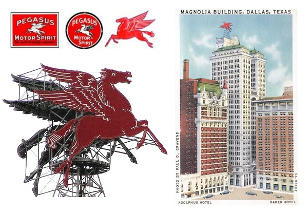 A restored 35-by-40-foot Pegasus sign today welcomes visitors to the Magnolia Hotel in Dallas - where it first rotated in 1934. Mobilgas products added the Pegasus logo in 1911 and it became an official trademark in 1931.