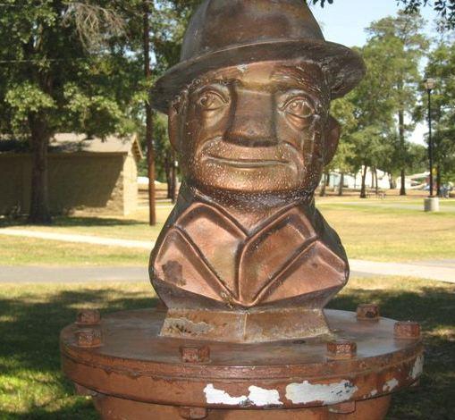 "Texas artist Torg Thompson bust of ""Joe Roughneck."""
