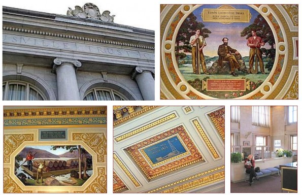 american oil history Titusville bank ceiling paintings