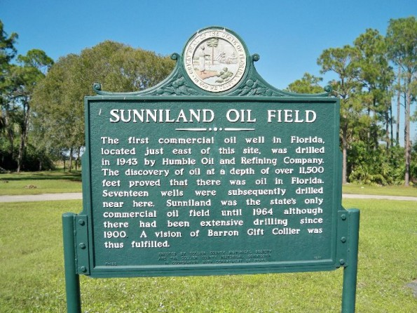 First Florida oil well historic marker for oilfield, east of Naples.