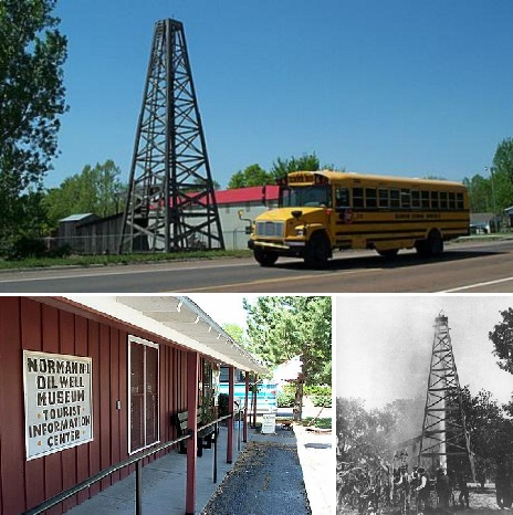School bus at Kansas Oil Museum and discovery well in Neodesha