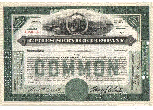 Cities Service stock certificate.