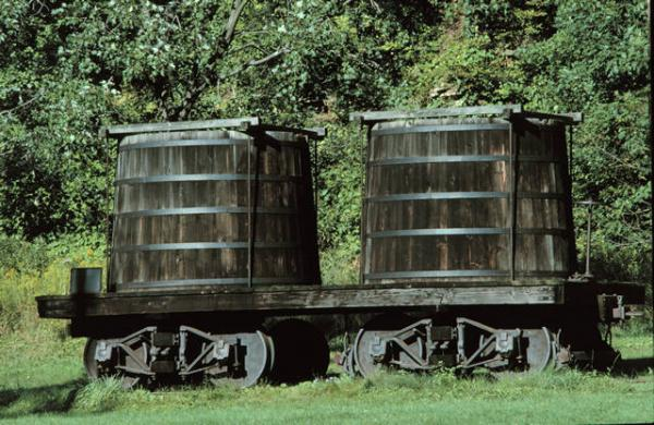 Densmore brothers circa 1860s wooden oil tank car exhibit in Pennsylvania