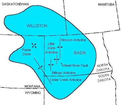 first  North Dakota oil well map of giant Williston Basin