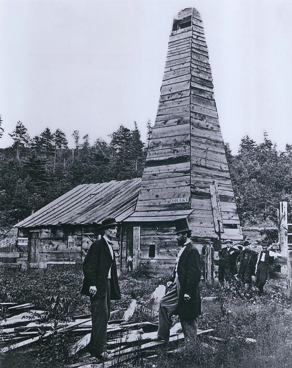 Image result for america first successful oil well drilled in 1859