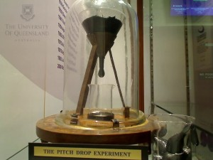 Pitch drop experiment photo of drip.