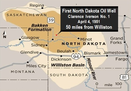 First North Dakota oil well map shows geology basins