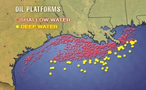 offshore oil history oil platforms gulf of mexico map