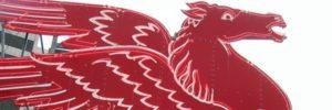 Detail of Mobil trademark Pegasus neon sign.