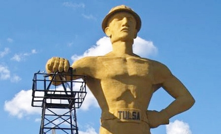 golden giant Tulsa roughneck staue