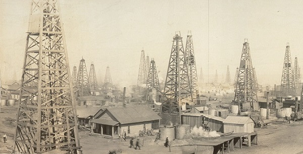 "A detail from a circa 1919 ""General view, Burkburnett oilfield"" panoramic gelatin silver print (nine inches x 95 inches) courtesy Library of Congress Prints and Photographs Division."