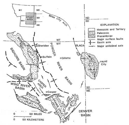 Petroleum geology of the Powder River Basin, Wyoming, and Montana. Image courtesy U.S. Geological Survey.