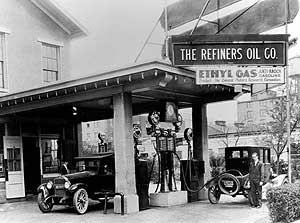 oil history service station sells first leaded gas