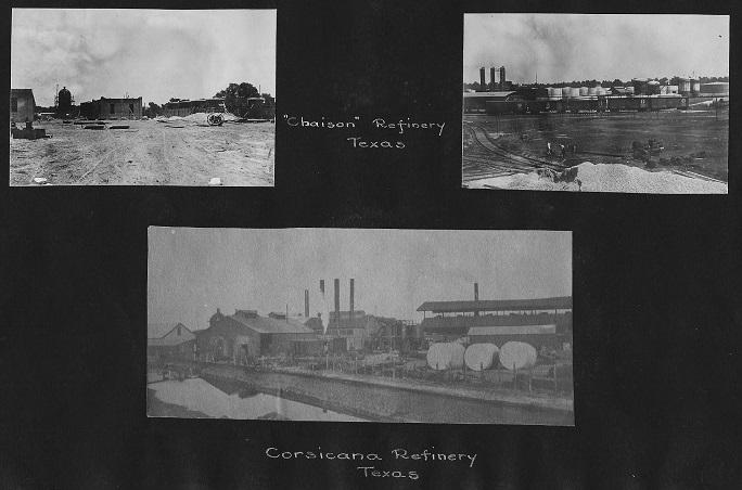 Corsicana refinery photos in Albert Jeffreys oilfield career preserved in family scrapbooks.