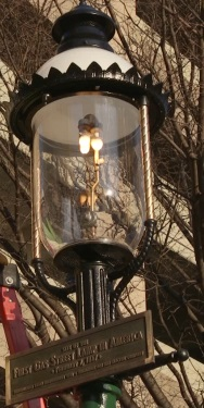 Illuminating Gaslight plaque at original street lamp replica