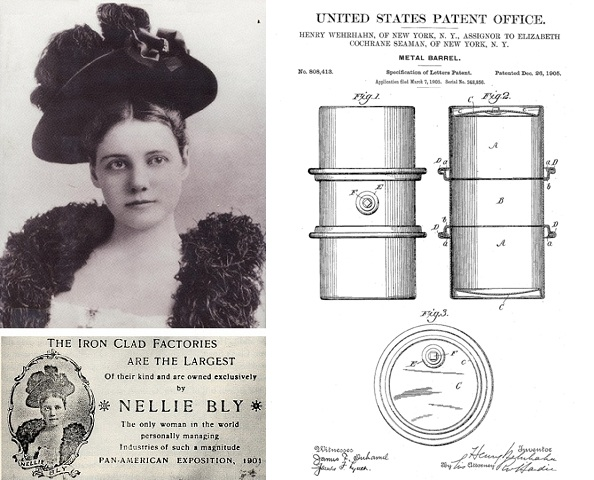 Nellie Bly metal barrel patent drawing and business card.