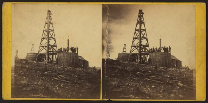 Stereograph of circa 1860s PA oil well.