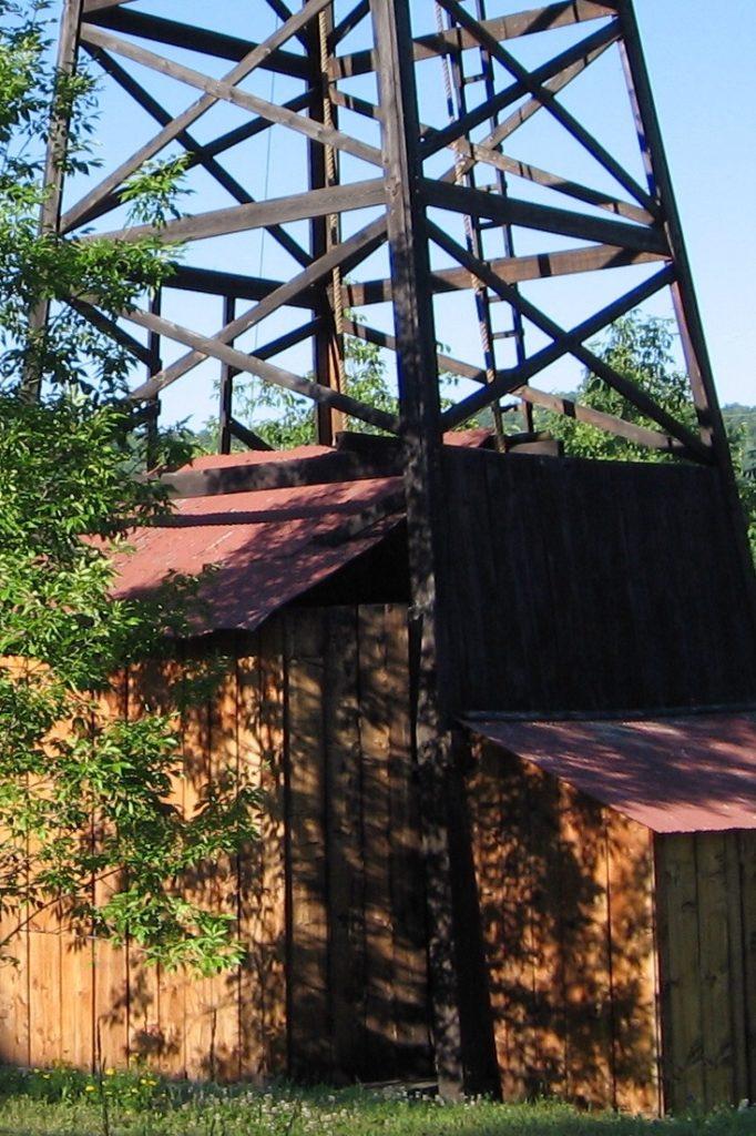 Wooden derrick at Penn-Brad Oil Museum, PA
