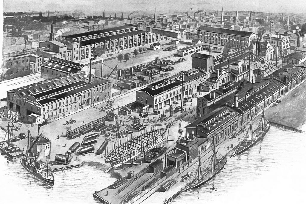 Birds-eye view of Continental Iron Works, Greenpoint, New York, circa 1898.