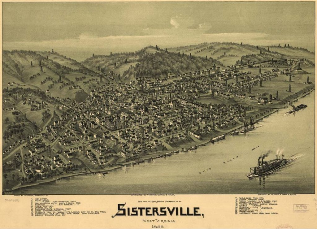 Thaddeus Mortimer Fowler 1896 bird's-eye  lithograph map of f Sistersville, West Virginia,courtesy Library of Congress.