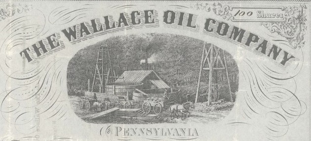 Detail of Wallace Oil Company stock certificate 1879